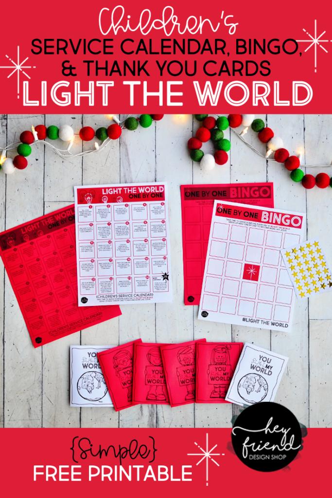 "#LightTheWorld-2019-""One by One"" - Children's Service Calendar, Bingo Board, & Thank You Cards from Hey Friend Shop"